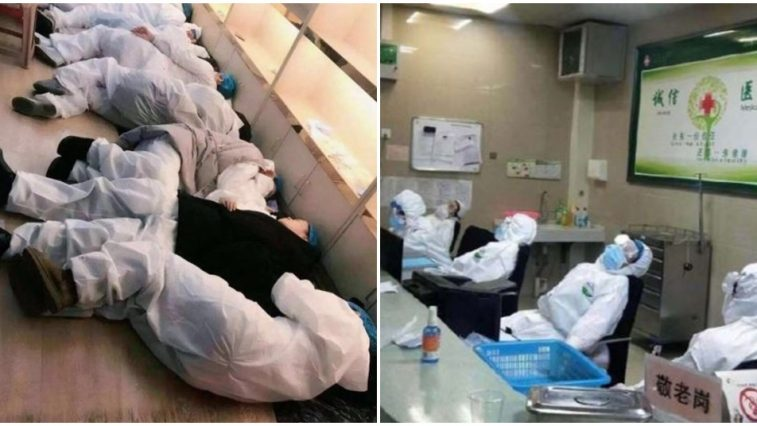 medical staff exhausted from treating wuhan patients sleep on hospital floors chairs world