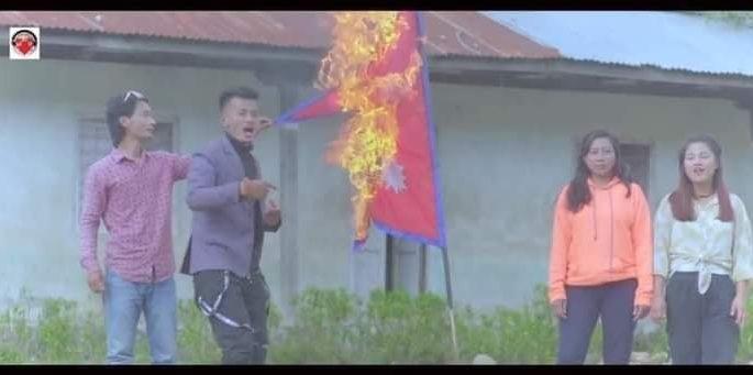 nepal flag lit on fire