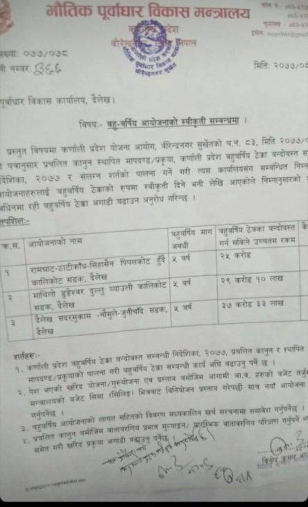 dharma raj regmi road budget